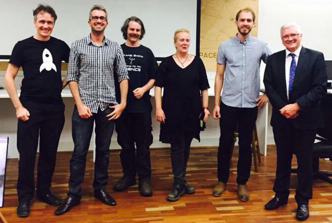 Team Artifactory (L2R: SKoT, Morgan, Meg, Tim, Craig) being awarded the Prize by Director General of the WA Department of Culture and the Arts, Duncan Ord.